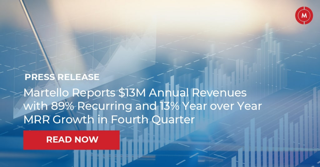 Martello reports $13M annual revenues with 89% recurring and 13% year over year MRR growth